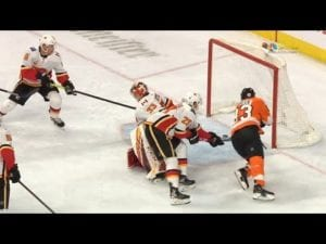 Jakub Voracek lays out to put a puck home