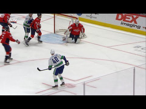 Elias Pettersson rips home heavy one-timer on two-man advantage