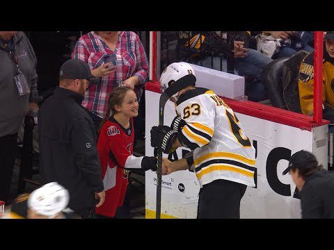 Brad Marchand meets, congratulates young Senators anthem singer