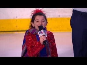 Sophie Knapp sings anthem for Kids Day at The Garden